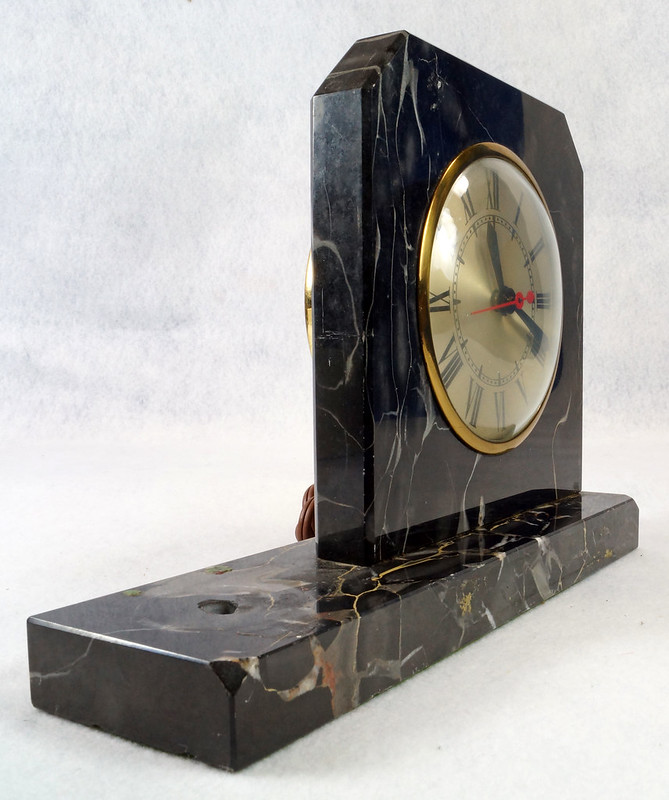 RD15359 Vintage Brunswick Electric Sessions Brass and Imported Marble Trophy Clock DSC09238