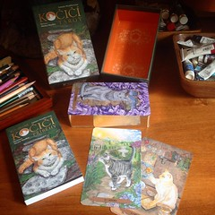 Delighted to share this...Mystical Cats Tarot has been translated into Czech! I just got my copy in the mail, it's really cool, sweet little box, pocket sized book, and the cards themselves have gilded edges, fancy! What a happy day! #mysticalcatstarot #c