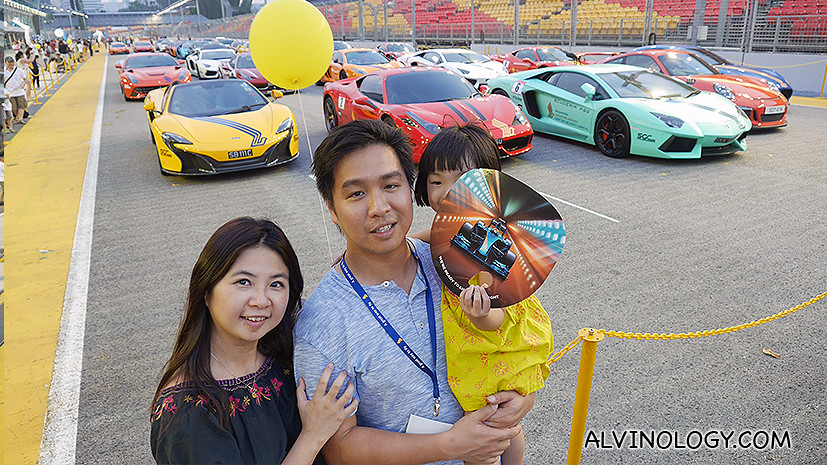Mark's family with the supercars