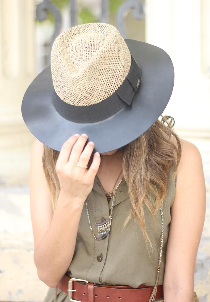 Khaki Jumpsuit Hat Clutch Summer Outfit 11