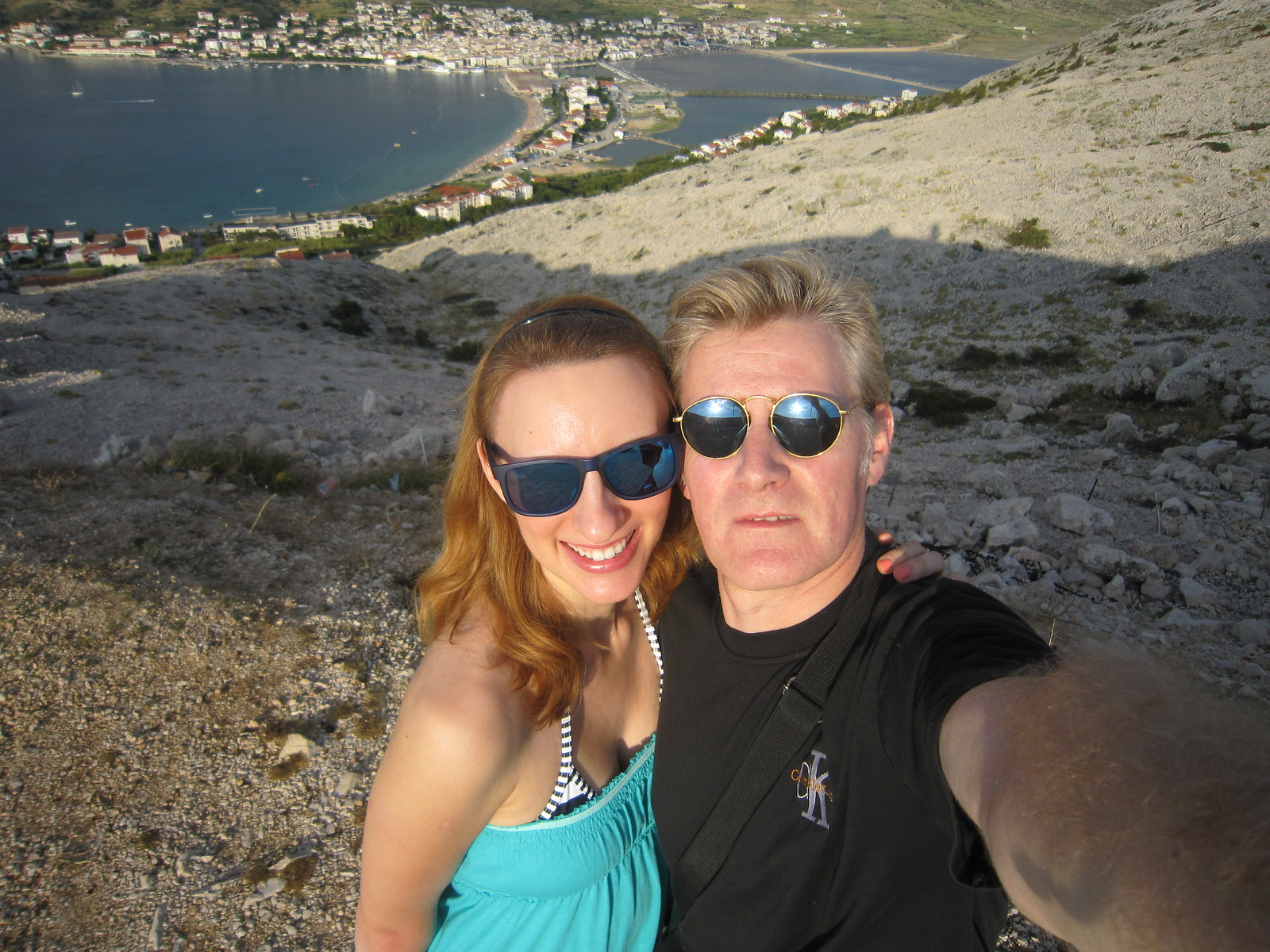 pag view island capital city town bay view overlooking croatia summer sunset holiday vacation 2015 august