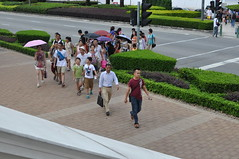 Tourists crossing the street