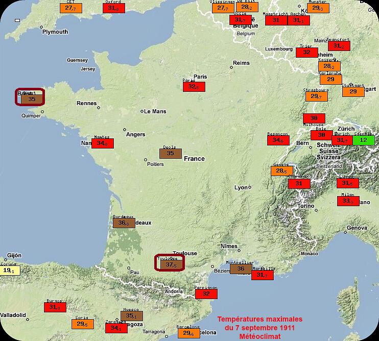 records mensuels de chaleur du 7 septembre 1911 météopassion