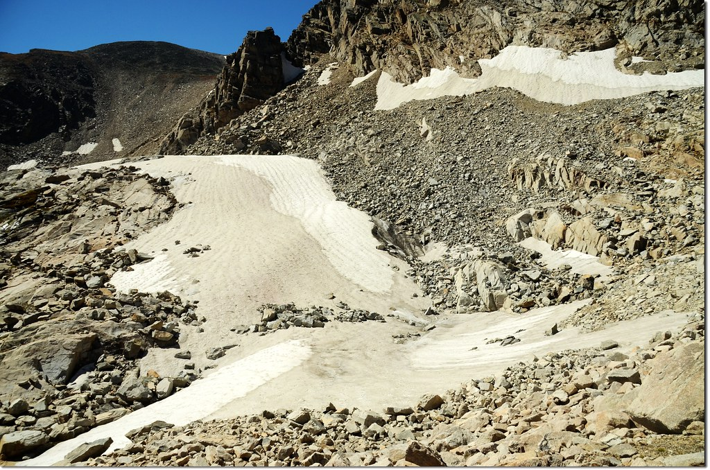 Lengthy snowfields between Upper Blue Lake and the southwest corner of the valley
