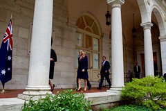 U.S. Secretary of State John Kerry and U.S. Defense Secretary Ash Carter walk with their Australian counterparts - Foreign Minister Julie Bishop and Defense Minister Marise Payne - before posing for a group photo on October 13, 2015, at the Boston Public Library in Boston, Massachusetts, before their annual AUSMIN diplomatic and defense meetings. [State Department photo/ Public Domain]
