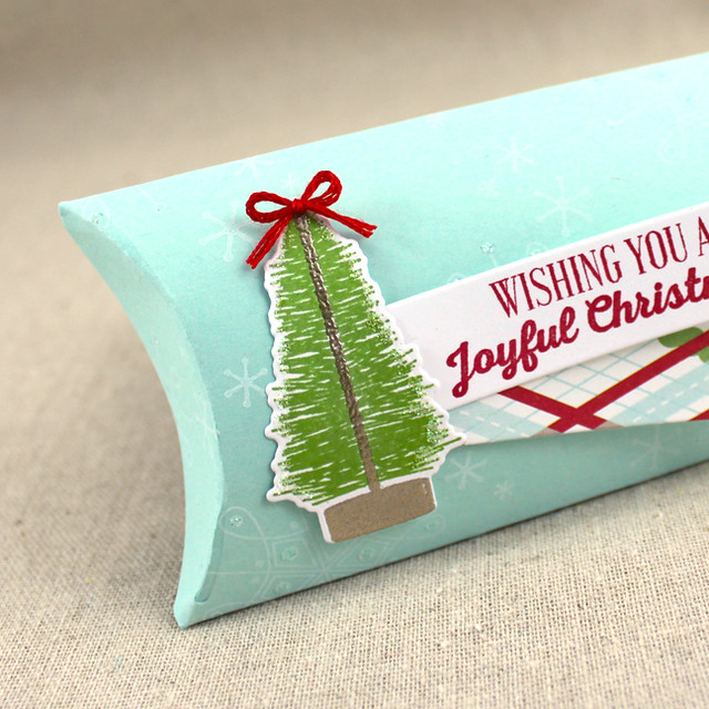 Joyful Christmas Pillow Box Close Up