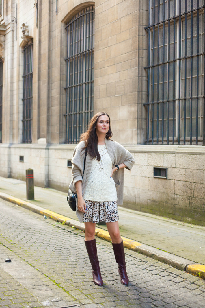 outfit: vintage knee boots, watercolour skirt, shawl cardigan