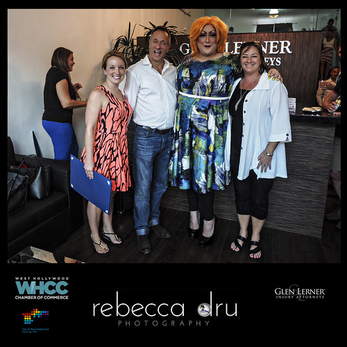 Mayor of WEHO Lindsey Horvath joins in the celebration with WHCC Chairman Keith Kaplan, Drag Queen Vicky Vox and WHCC President/CEO Genevieve Morrill at the Grand Opening and Ribbon Cutting at Glen Lerner Injury Attorneys on the Sunset Strip