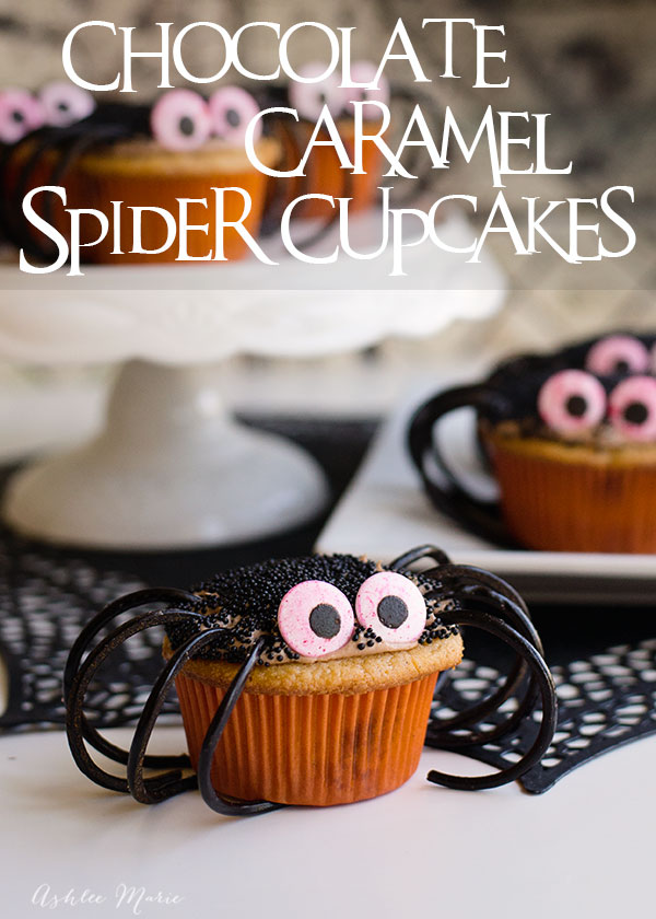 easy spider cupcakes - a caramel cupcake with a chocolate cream cheese frosting filled with chopped snickers bars