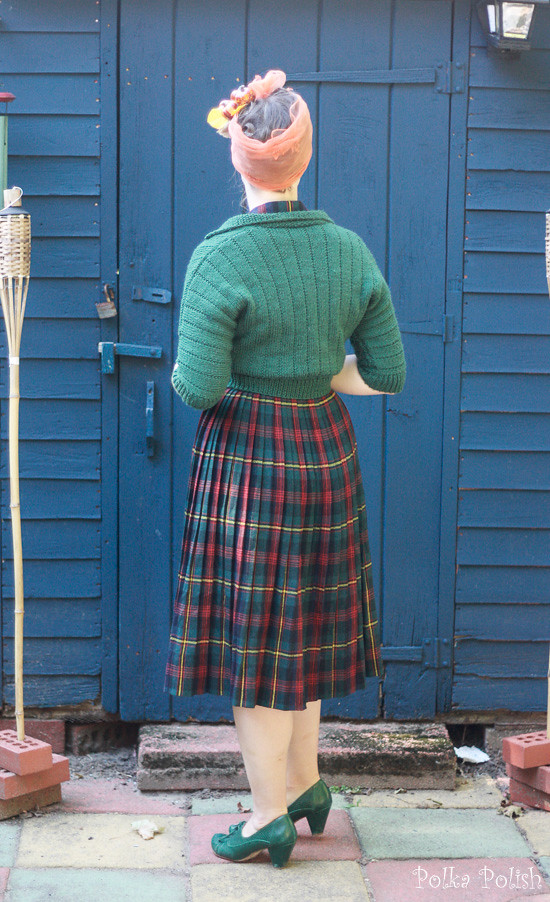 Vintage Sporteens plaid ensemble with a modern forest green sweater