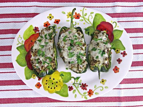 Venison Quinoa Stuffed Poblanos