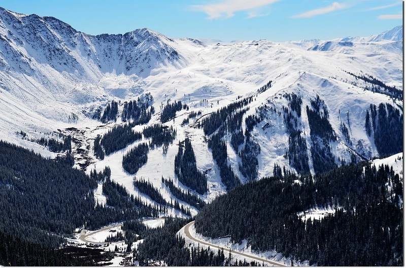 Overlooking south onto Arapahoe Basin Ski Area from Loveland Pass above