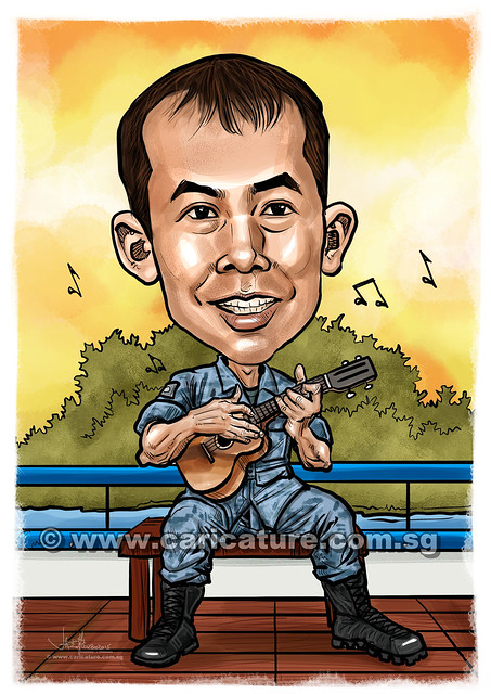 digital caricature playing Ukulele for Singapore Navy (watermarked)