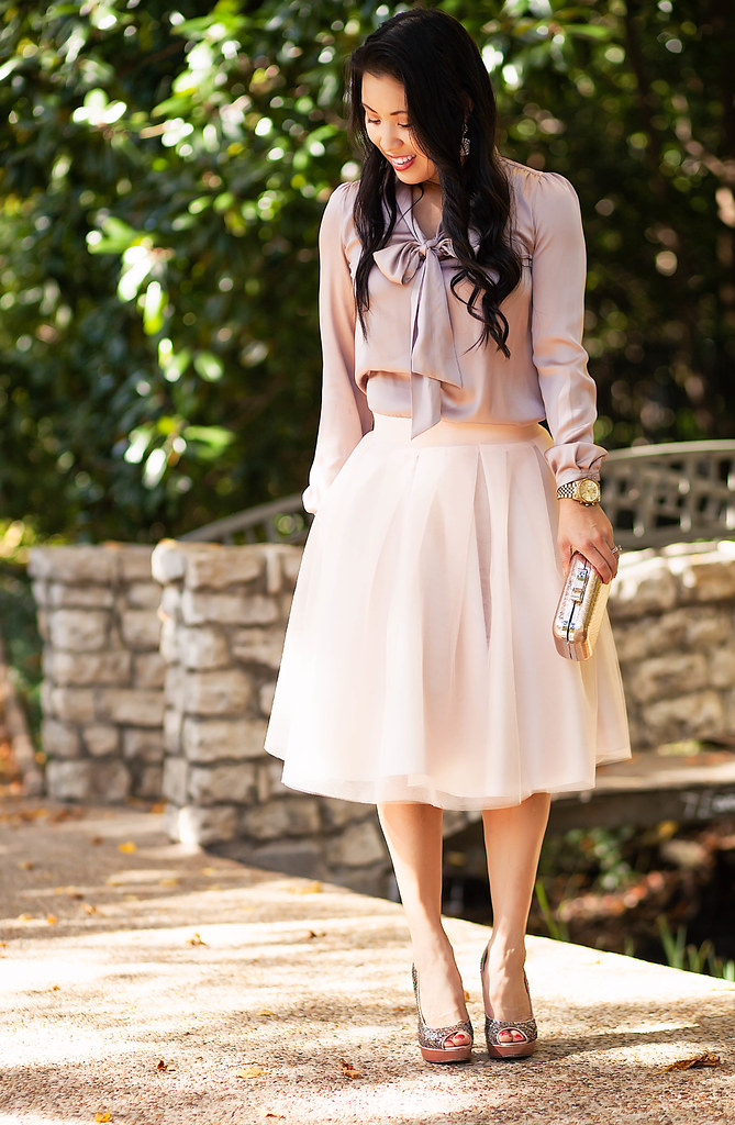 cute & little blog | petite fashion | silk blush bow blouse, blisstulle blush tulle skirt, sequin pumps | holiday outfit idea inspiration