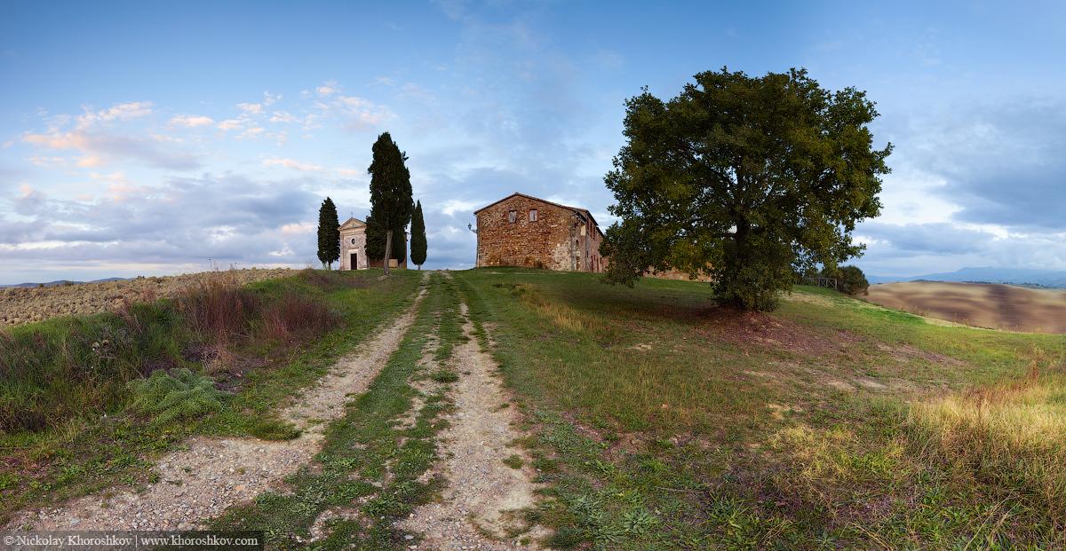 Panorama of chapel of Madonna di Vitaleta