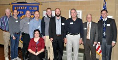 Jim Morgan introduced the members of the club who have been nominated to serve during the next year of 2016-2017. L-R: Ed Smallwood (Sgt. at Arms), Steve Dieckhaus (Director of Community Services), Matt Towler (Director ofClub Service Committee), Ken Brown (Vocational Service Committee), Jason Potts (President Elect Nominee), Mike Wienold ( President Elect), Scott Tarkenton (President), Jim Morgan (in charge of nominations), Chris Morgan (Immediate Past President) and seated Jan Nelson (Secretary). Others not in the photo are Ed Cody (Treasurer), Curtis Stevens (Director of Youth Services), and Brent Wright (Director of International Service).