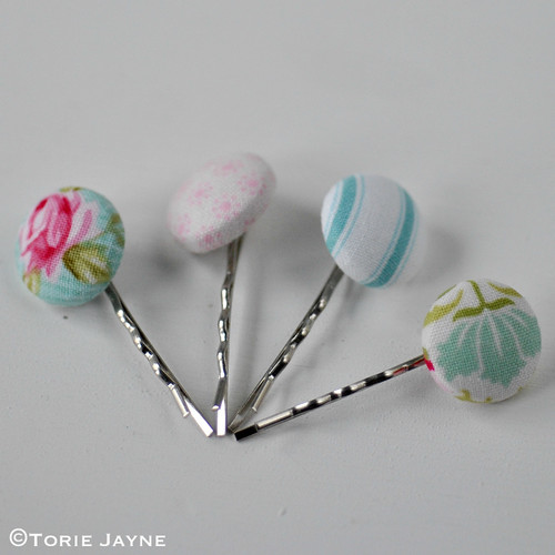 Pretty pastel fabric covered bobby pins tutorial 2