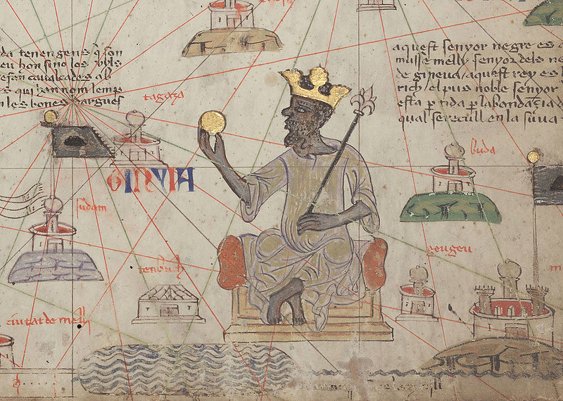 Detail from the Catalan Atlas showing Musa I of Mali, by Abraham Cresques