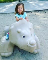 My beautiful #SuzanneMoon  💖🌙 #toddlers #atthepark #dinolover #dinosaur #triceratops #stopgrowing
