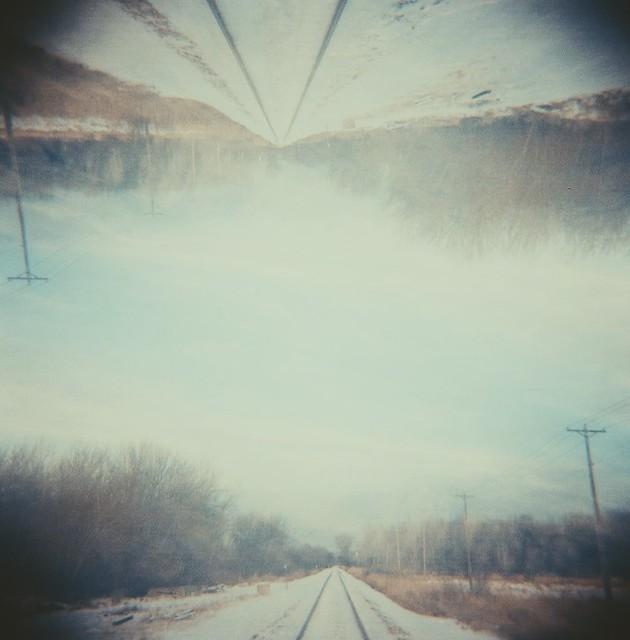 Snowy tracks... double exposure [holga/ portra 400]