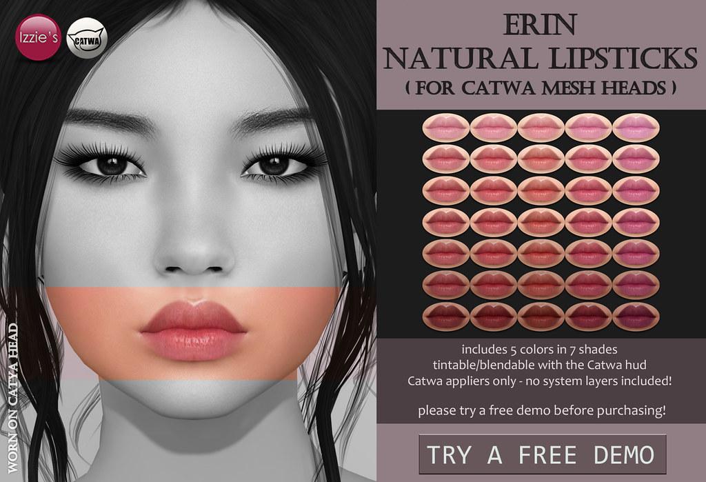 Catwa Erin Natural Lipsticks (Skin Fair) - SecondLifeHub.com