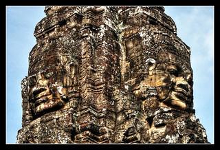 Siem Reap K - Bayon stone face 04