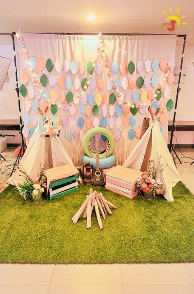 Macy S Glam Camping Themed Party 1st Birthday Party