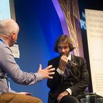 Cédric Villani chats to Chair Brian Meechan | Cédric Villani chats to Chair Brian Meechan at the Edinburgh International Book Festival © Alan McCredie