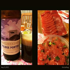 @lanikaibrewing pillbox porter & ono seafoods lomi ahi & sashimi #dinner #hawaii #lanikaibrewing #porter #onoseafoods