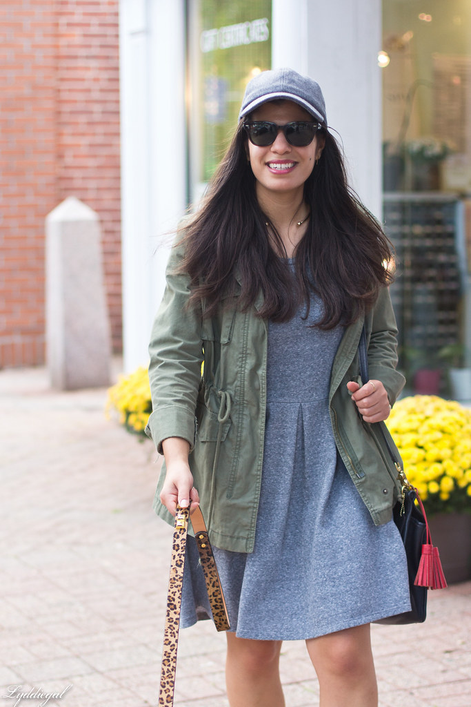 grey sweatshirt dress, field jacket, wool ball cap, dog walking-1.jpg