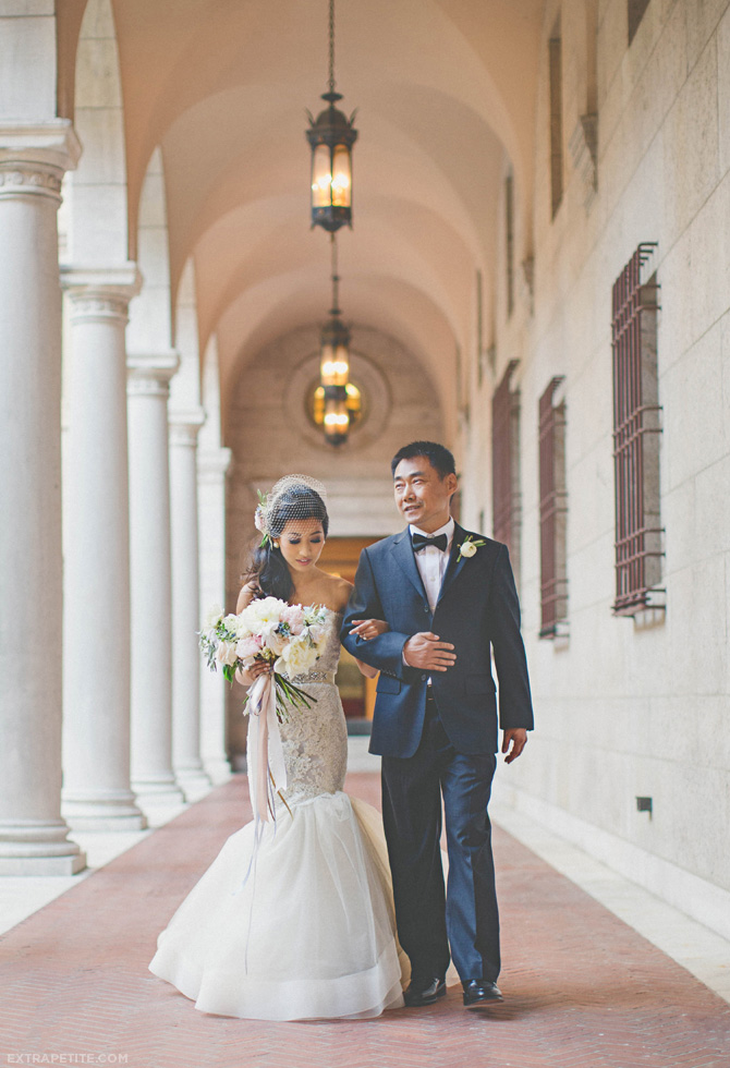 boston library courtyard wedding dress aisle