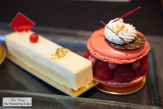 White chocolate & passion fruit cake and Mixed berry macaron