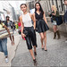 FW9-15  35w2 white mesh tank top leather knee length pants chanel clutch black strap sandals black v neck top black pleated skirt heeled pumps
