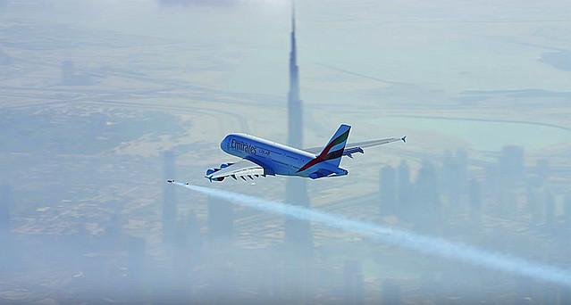 Jetman Dubai y Emirates A380
