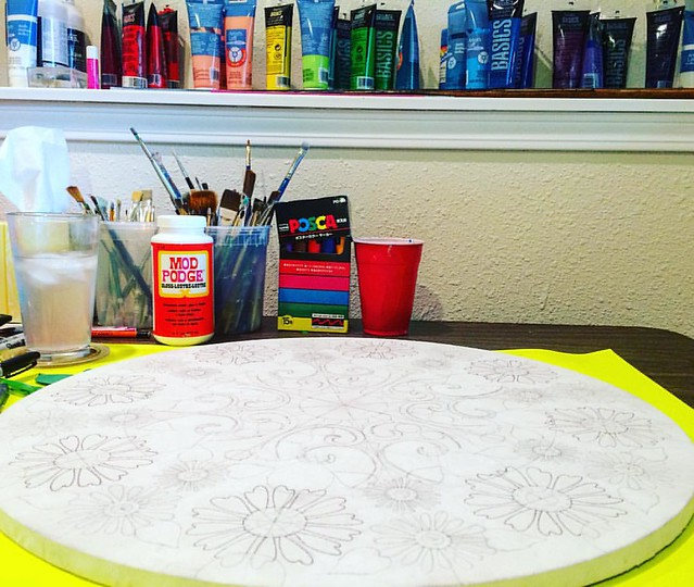 Gettin' my Mandala on today. This one is going to be floral.