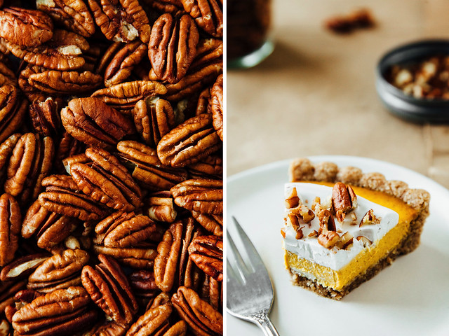 Ginger + pumpkin tart with maple-pecan crust