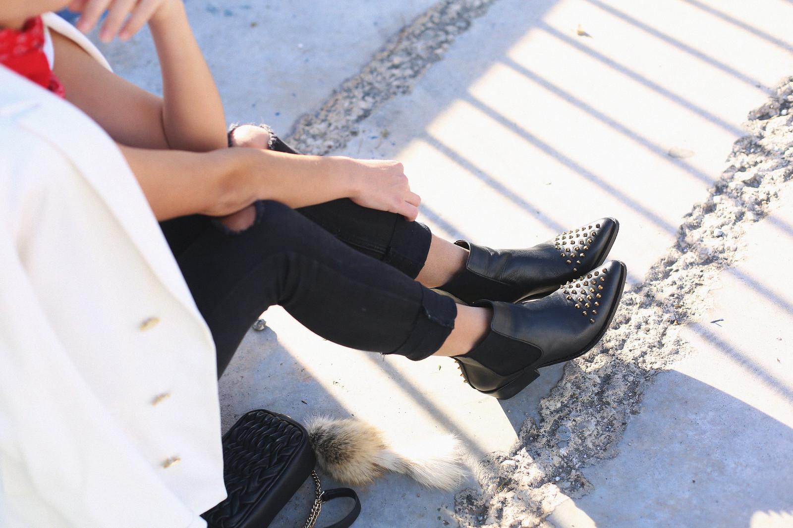 3. jessie chanes - white blazer gold studs booties