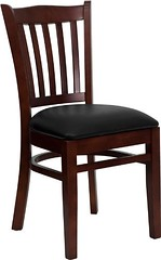 Flash Furniture 4-Pack Hercules Series Mahogany Finished Vertical Slat Back Wooden Restaurant Chair with Black Vinyl Seat
