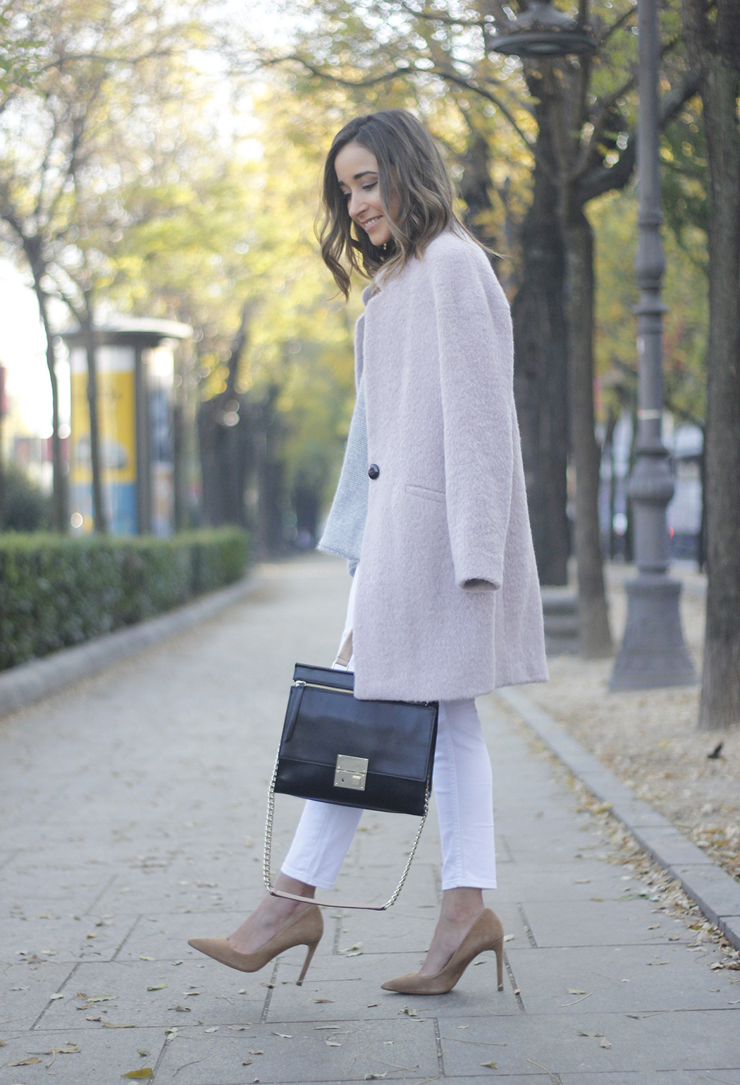 Tintoretto Pink Coat white jeans grey sweater outfit20