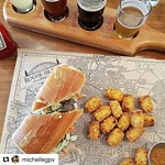 #Repost @michellegpv with @repostapp ・・・ Bahn mi and beer. I'm never leaving. #providence #travel #beer #crookedcurrent #flight #banhmi #rogueisland #lunch #ri #tots