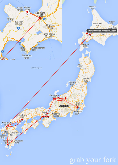 Travel map of the Grab Your Fork trip so far through Japan 2015