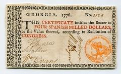 Georgia 1776 $4 note