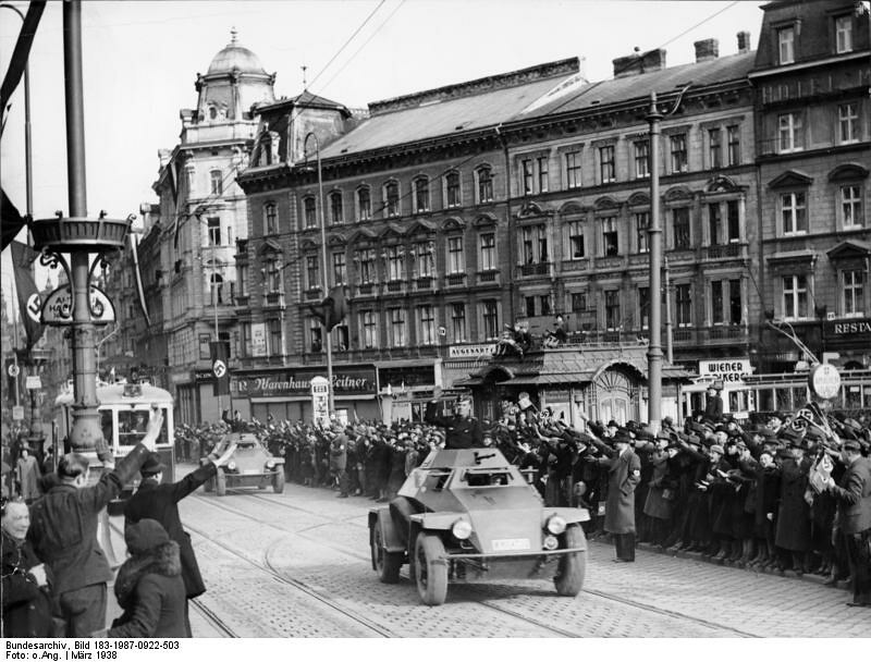 Cheering crowds greet the Nazis during Anschluss in Vienna