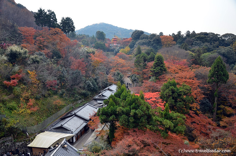 Kiyomizudera-mountain-view- Autumn colours in Japan