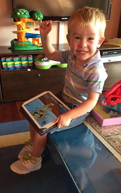 Ian scores on iPad game