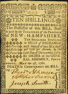 New Hampshire May 1, 1761 10 Shillings note front