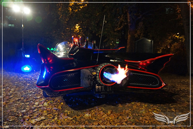 The Establishing Shot: CHARACTER CARS 1966 BATMOBILE JET ENGINE FIRING AT THE ROGUES GALLERY - CREATION OF A SUPER-VILLAIN BOOK LAUNCH @ THE CRYPT GALLERY, LONDON - OCT 2015
