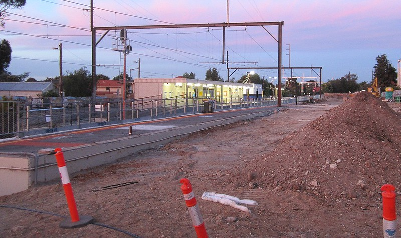 Mckinnon station, platform 3 being demolished December 2015 for level crossing removal works