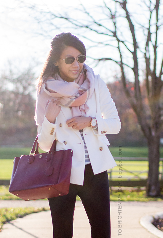 pink plaid scarf, gray striped turtleneck, white blazer, black pants, oversized watch