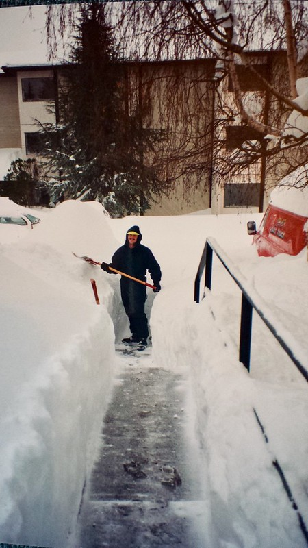 Dale Cooper assisting with snow removal at Cedar Shores on Gorge Rd West. Photo Michelle Cooper